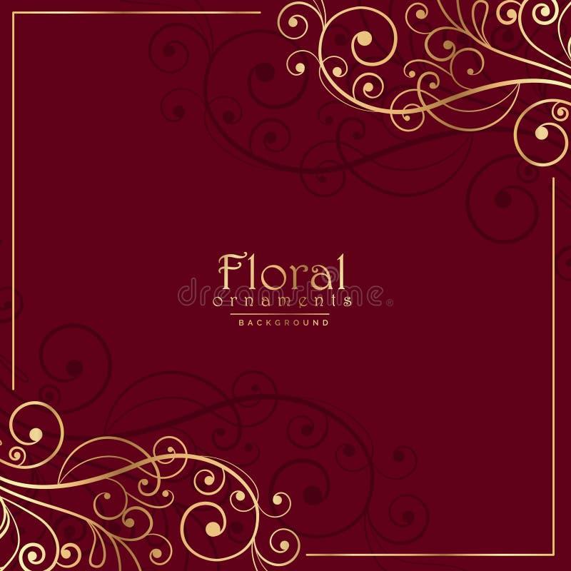 Blom- dekorativ garnering på röd bakgrund vektor illustrationer