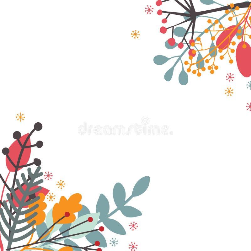 Blom- dekorativ ram av höstsidor och filialer med bär Hand-drog lägenhet-stil växter i hörn av vit bakgrund stock illustrationer