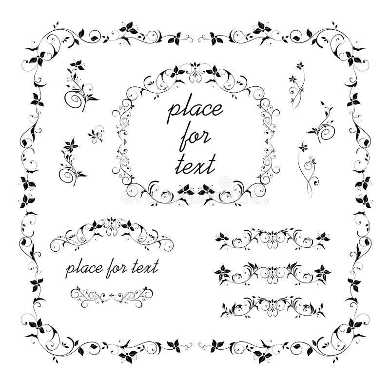 Blom- dekorativ ram för tappning, titelrader och karaktärsteckningsamling svart white royaltyfri illustrationer