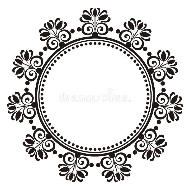 Blom- dekorativ rund ram royaltyfri illustrationer