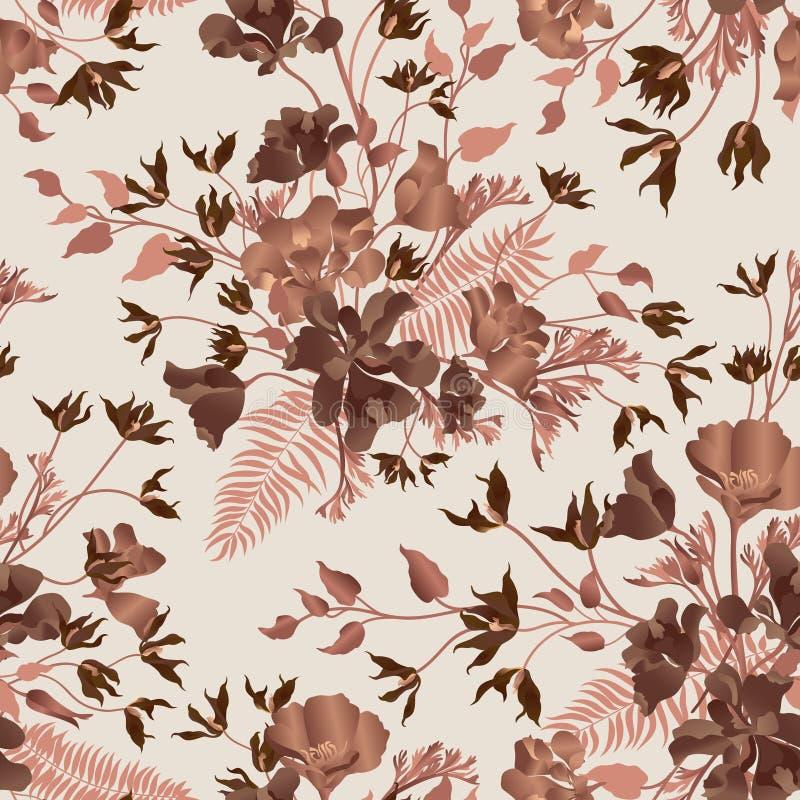 blom- dekorativ sömlös modell Bakgrund för blommaträdgård Fl stock illustrationer