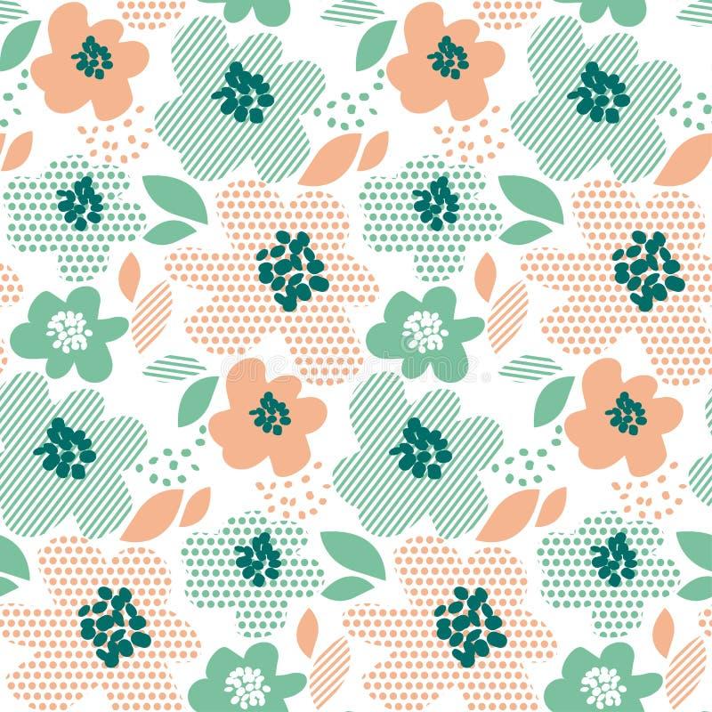Blom- dekorativ sömlös modell för enkel blek färg royaltyfri illustrationer