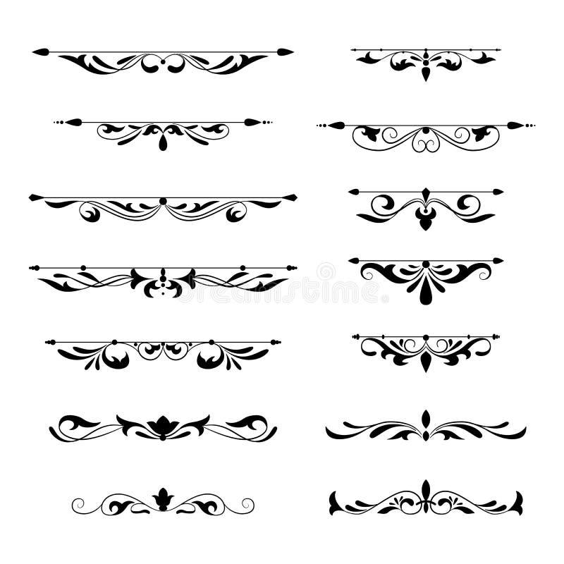 Blom- dekorativ stil för tappning för designbeståndsdelsamling stock illustrationer
