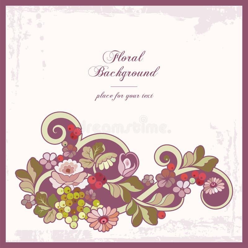 blom- dekorativ stiltappning för bakgrund royaltyfri illustrationer