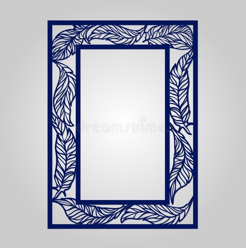 Blom- dekorativ utklipppanel för vektor för laser-klipp stock illustrationer