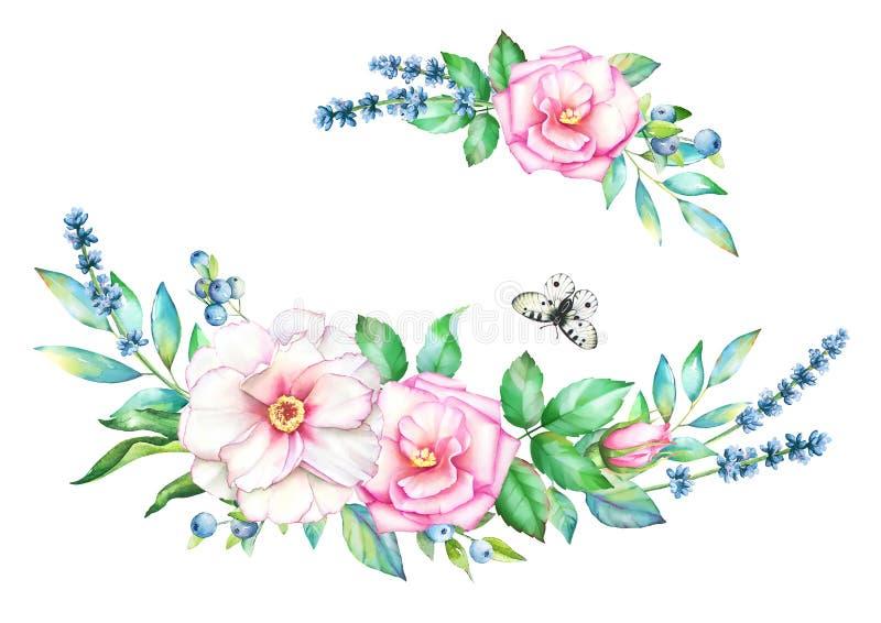 Blom- dekorativa beståndsdelar för vattenfärg med fjärilen royaltyfri illustrationer