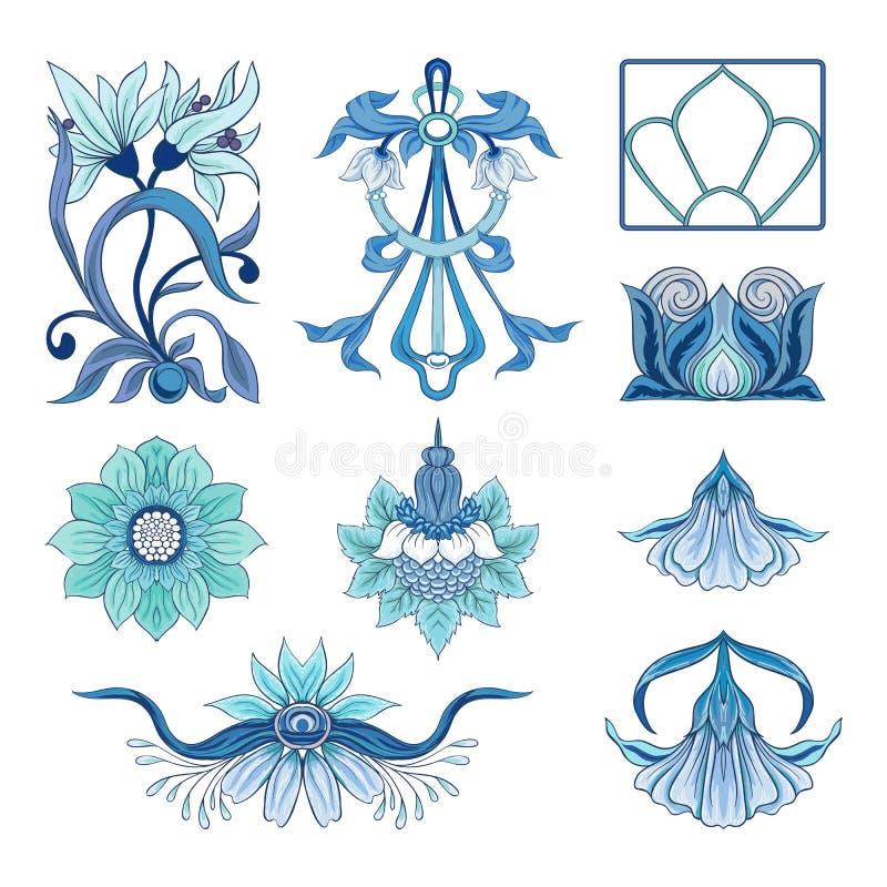 Blom- dekorativa beståndsdelar i jugendstilstil stock illustrationer