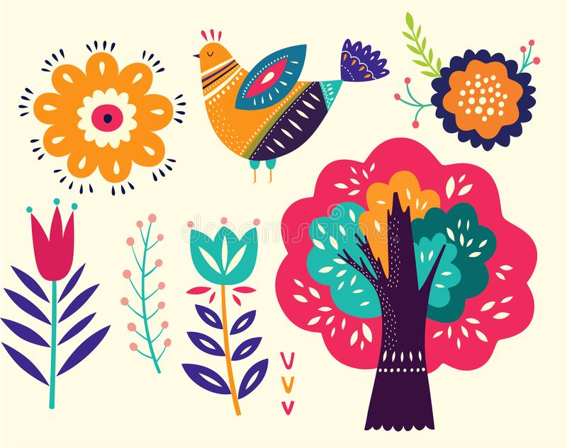 blom- dekorativa element stock illustrationer