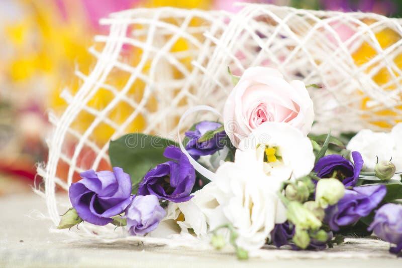 blom- dekorativa element många ställde in royaltyfri fotografi