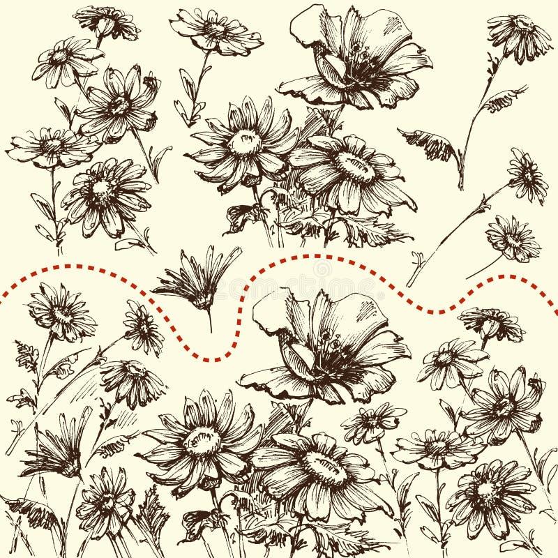 blom- dekorativa element många ställde in En samling av utdragna blommor för hand royaltyfri illustrationer