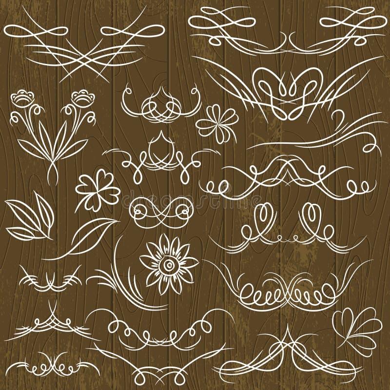 Blom- dekorativa gränser, dekorativa regler, divid royaltyfri illustrationer