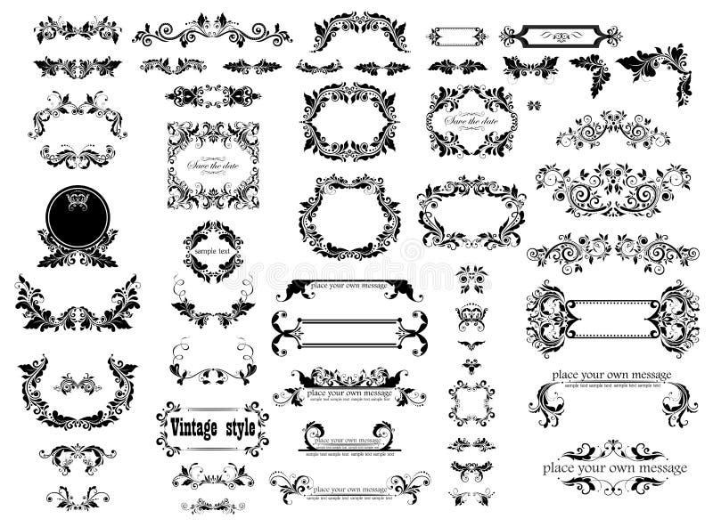 Blom- dekorativa ramar för tappning, titelrader och titelsamling för att gifta sig och den heraldiska designen, menykort, restaur stock illustrationer