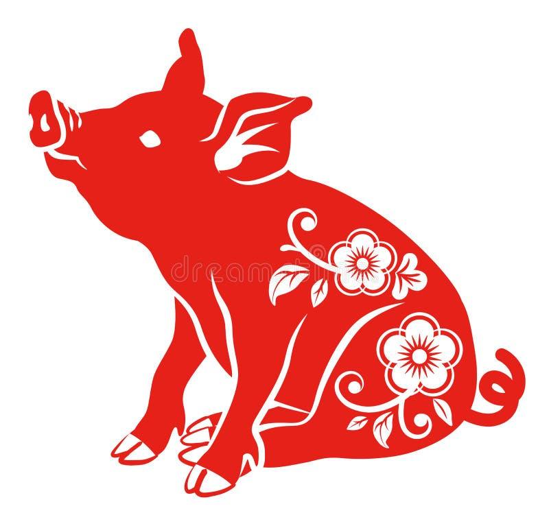 Blom- dekorativt svin - sammanträde vektor illustrationer