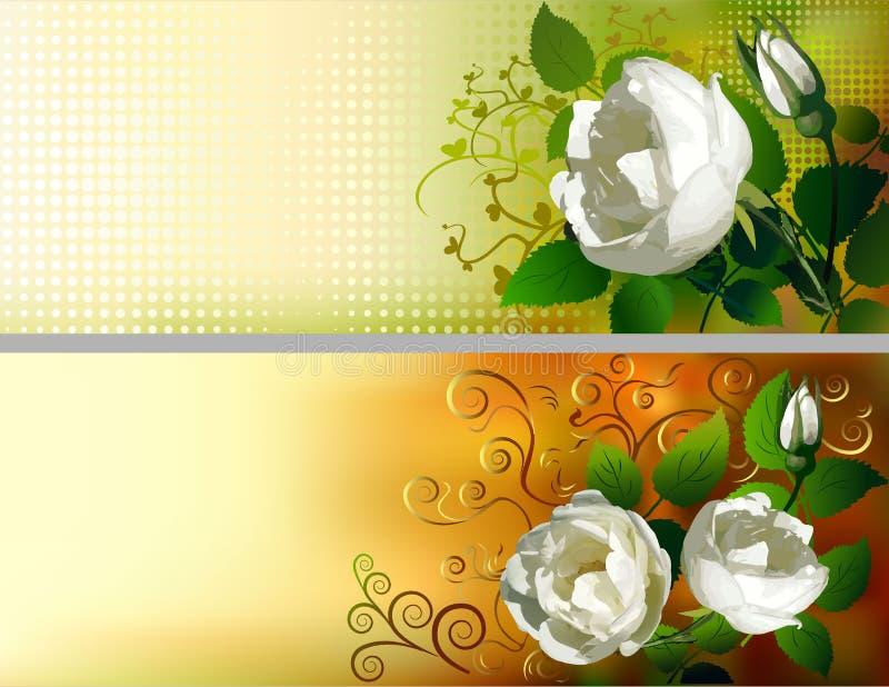 Blom- dekorerade baner royaltyfri illustrationer