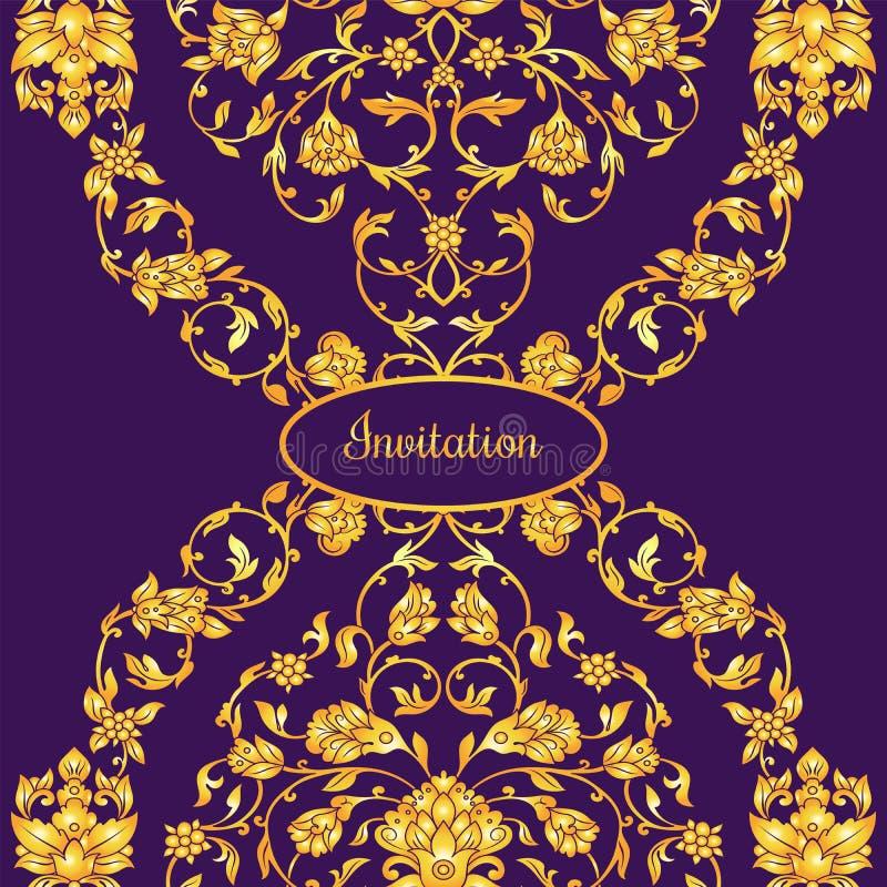Blom- dekorerat inbjudankort med antikviteten, den lyxiga violetta och guld- tappningprydnaden, victorianbaner, damast barock royaltyfri illustrationer