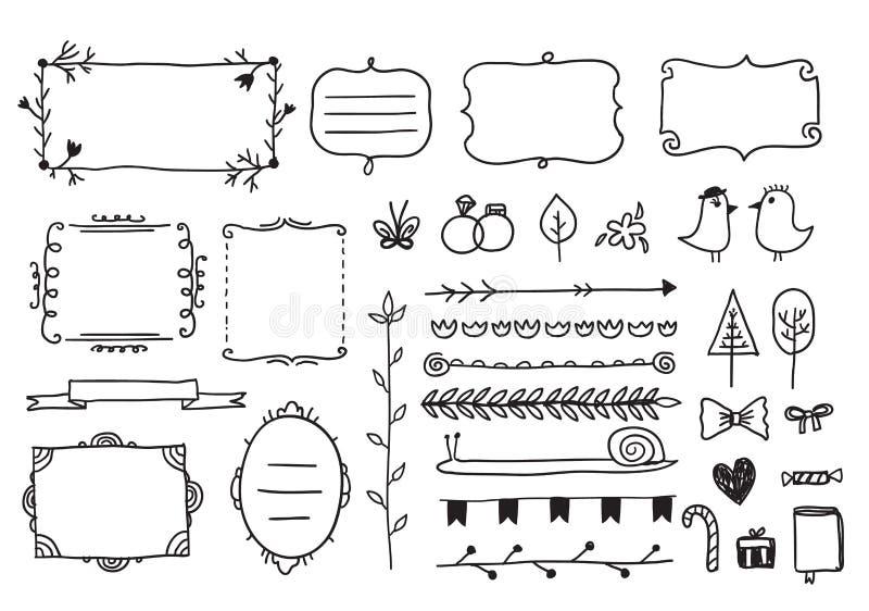 Blom- dekoruppsättning för vektor av det hand drog klottret vektor illustrationer
