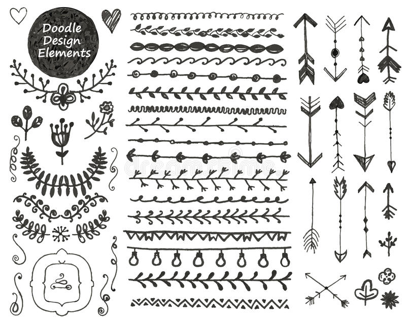 Blom- dekoruppsättning för vektor, dragen samling av handen vektor illustrationer