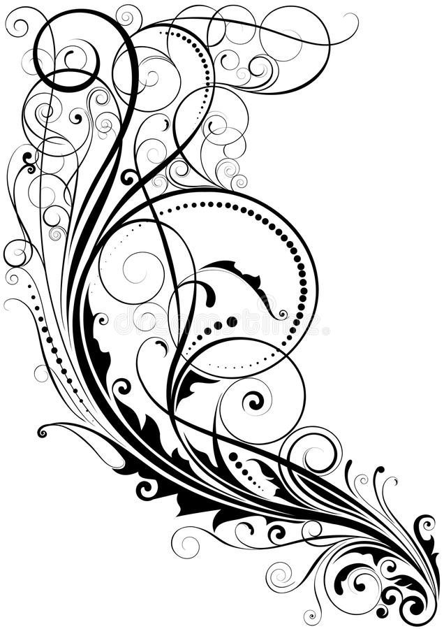 Blom- design för abstrakt virvel stock illustrationer