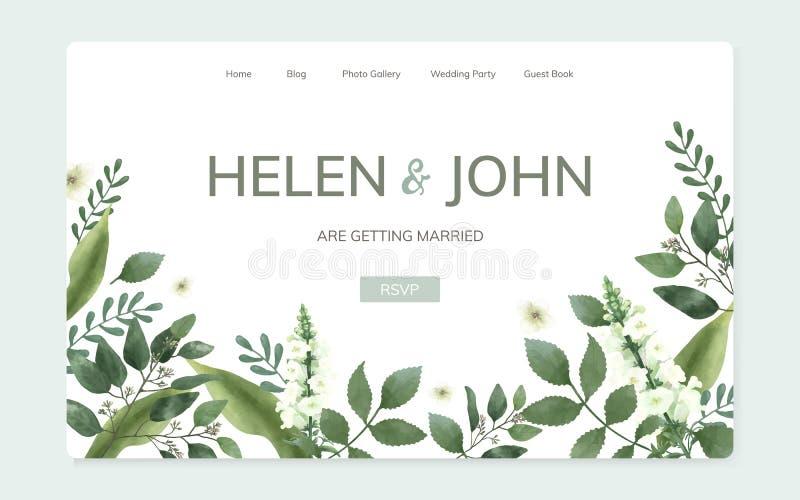 Blom- design för bröllopinbjudanwebsite vektor illustrationer
