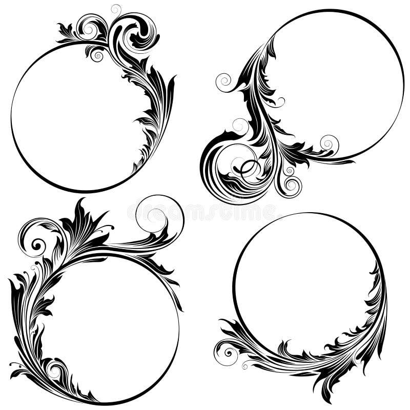 Blom- design för cirkel royaltyfri illustrationer