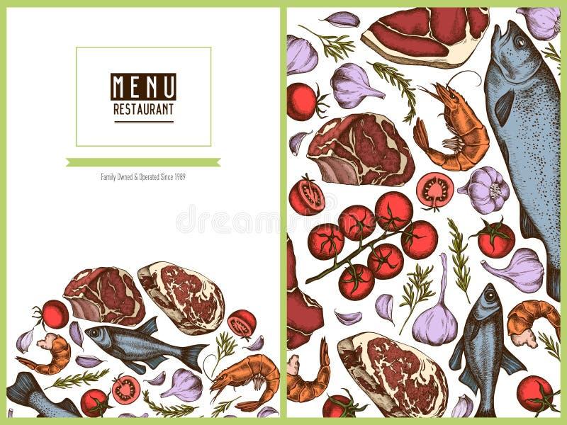 Blom- design för menyräkning med kulör vitlök, körsbärsröda tomater, fisk, räka, nötkött, rosmarin vektor illustrationer