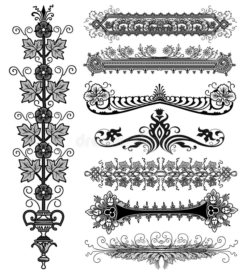 Blom- design för tappning royaltyfri illustrationer