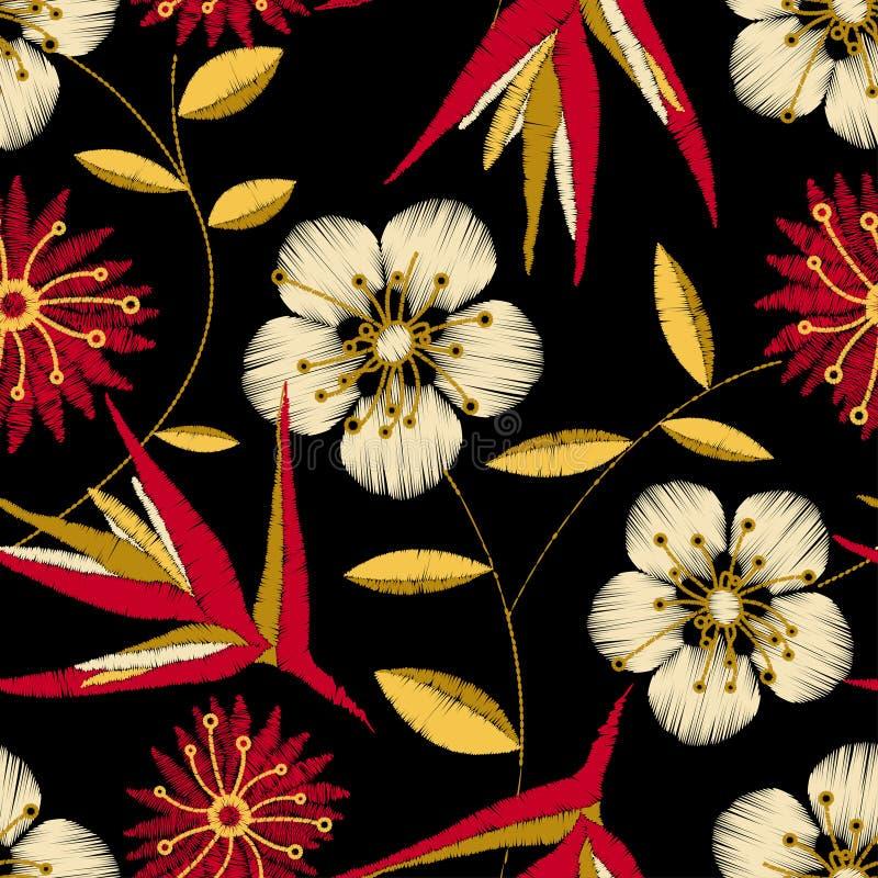 Blom- design för tropisk detaljerad broderi i en sömlös modell vektor illustrationer