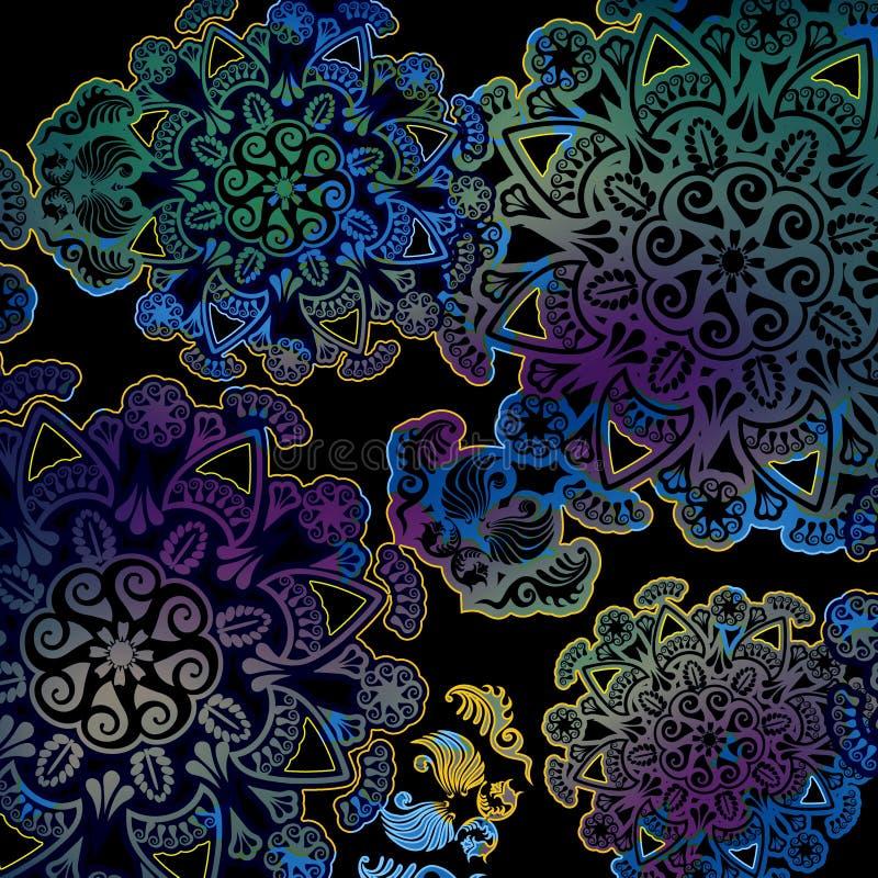 Blom- design på färgad rengöringsdukbakgrund royaltyfri illustrationer