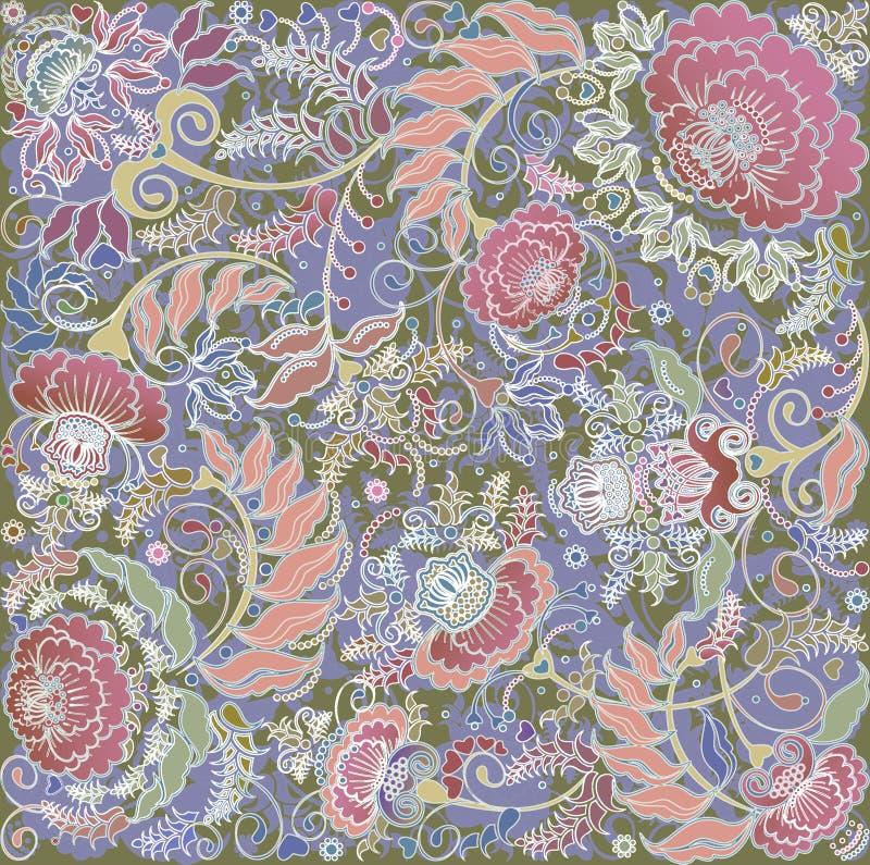 Blom- design på grön backlground royaltyfri illustrationer