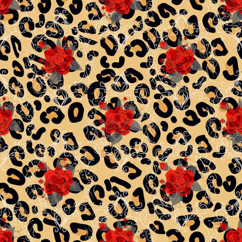 Blom- djurt s?ml?st designtryck Leopardtextur och blommabuketter R?d ros, burgundy r?d pion, vit anemon, stock illustrationer
