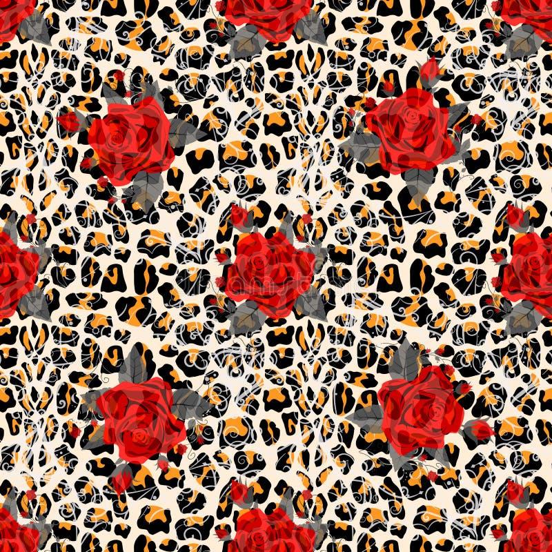 Blom- djurt s?ml?st designtryck Leopardtextur och blommabuketter R?d ros, burgundy r?d pion, vit anemon, royaltyfri illustrationer