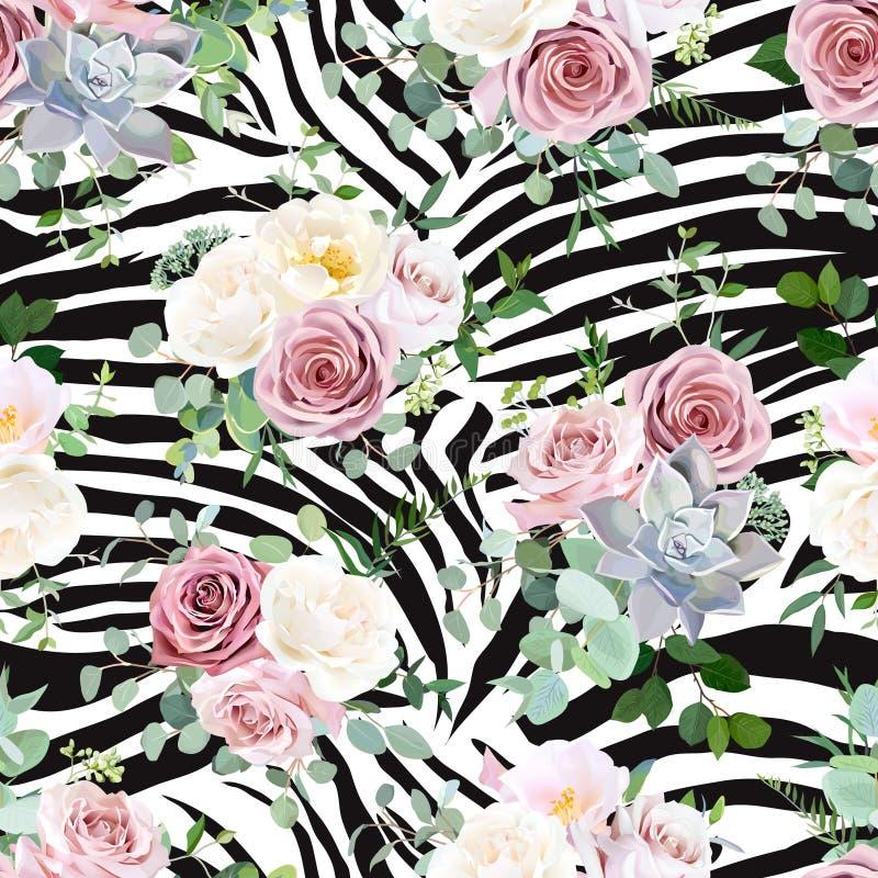 Blom- djurt sömlöst vektordesigntryck royaltyfri illustrationer