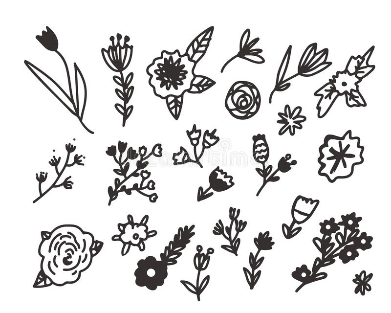Blom- dragen uppsättning för klotter hand royaltyfri illustrationer