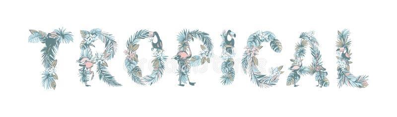 Blom- drog TROPISKA palmblad för sommarmodell hand, blommor, fåglar vektor illustrationer