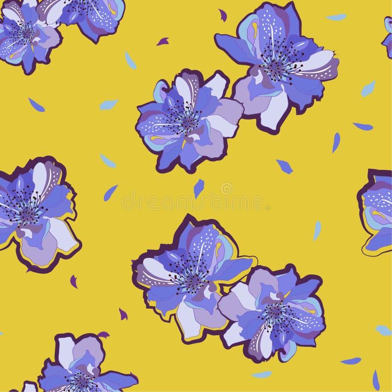 Blom- eamless modell för färgrik och ljus sommar med den blom- japanska körsbärsröda blomningen, blommor av sakuraen orientalisk  stock illustrationer