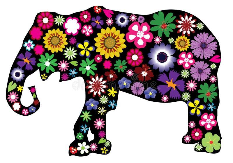 blom- elefant stock illustrationer