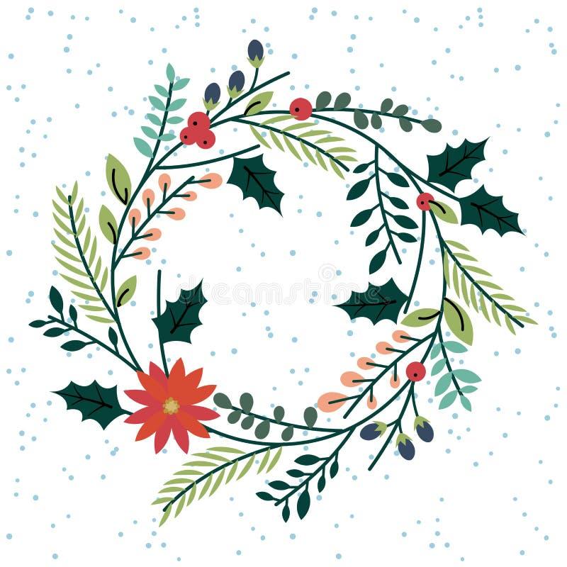 Blom- eller botanisk julkrans royaltyfri illustrationer