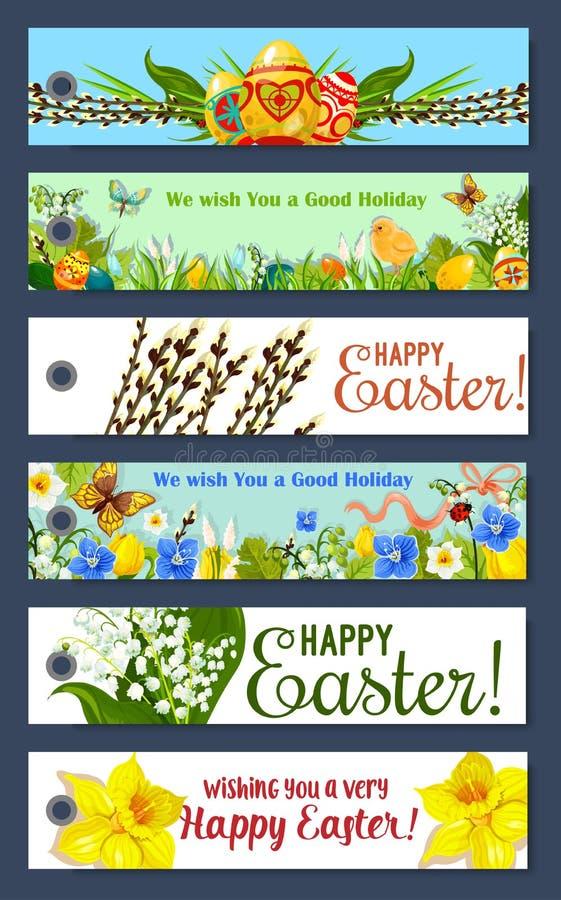 Blom- etikett för påskferie och gåvaetikettuppsättning stock illustrationer