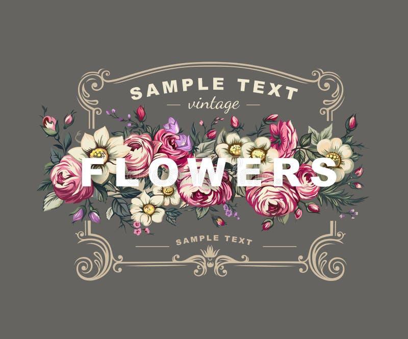 Blom- etikett för vektor med en ram som komponeras av detaljerade blommor royaltyfri illustrationer