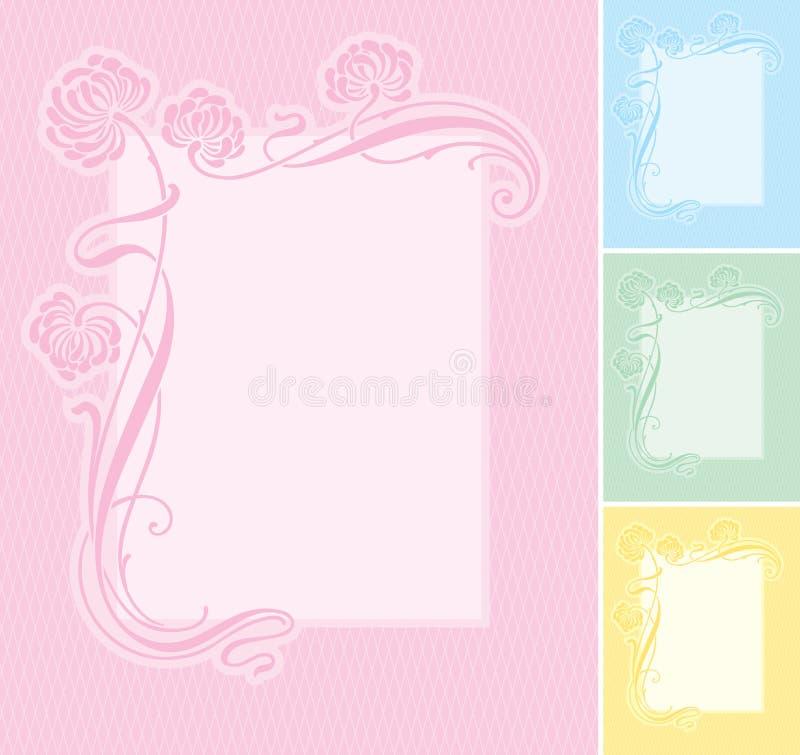 blom- etikettvektor för bakgrund stock illustrationer