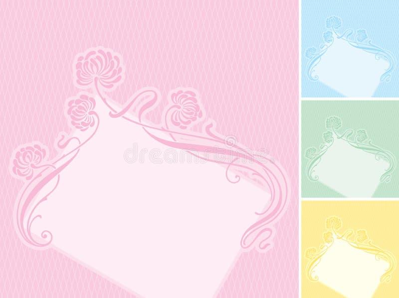 blom- etikettvektor för bakgrund royaltyfri illustrationer