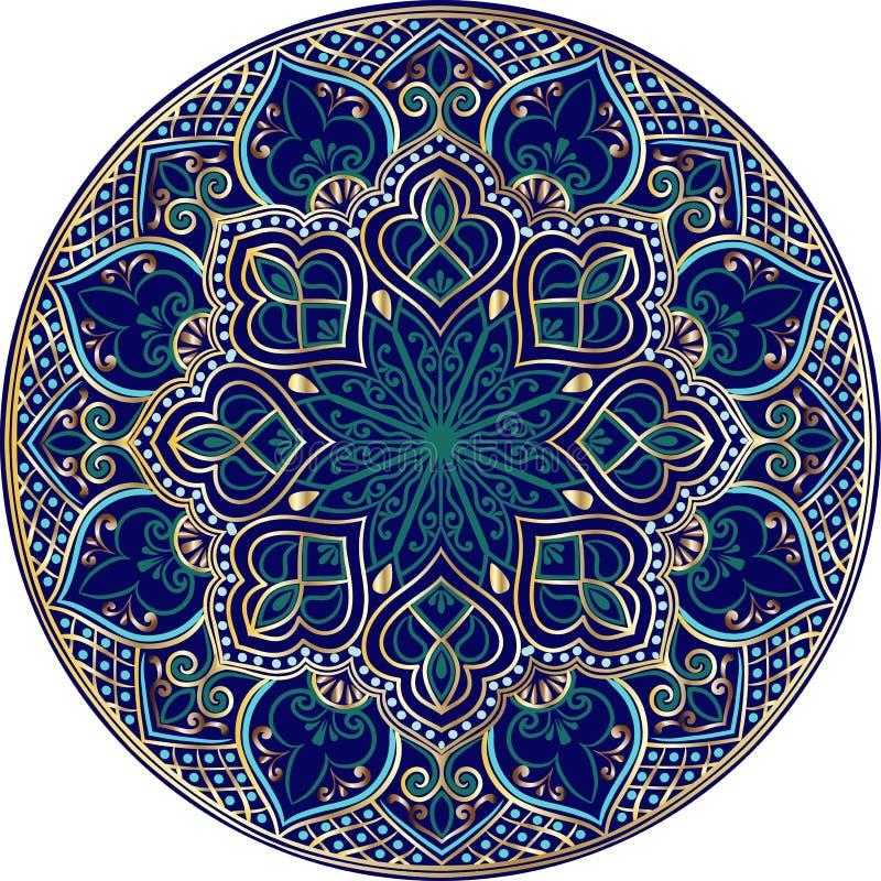 Blom- etnisk mandala stock illustrationer