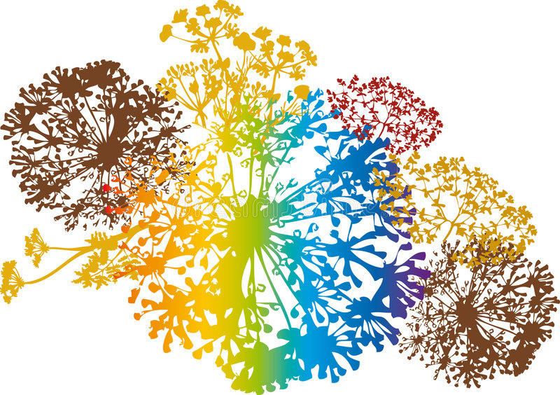 blom- färgrik design royaltyfri illustrationer