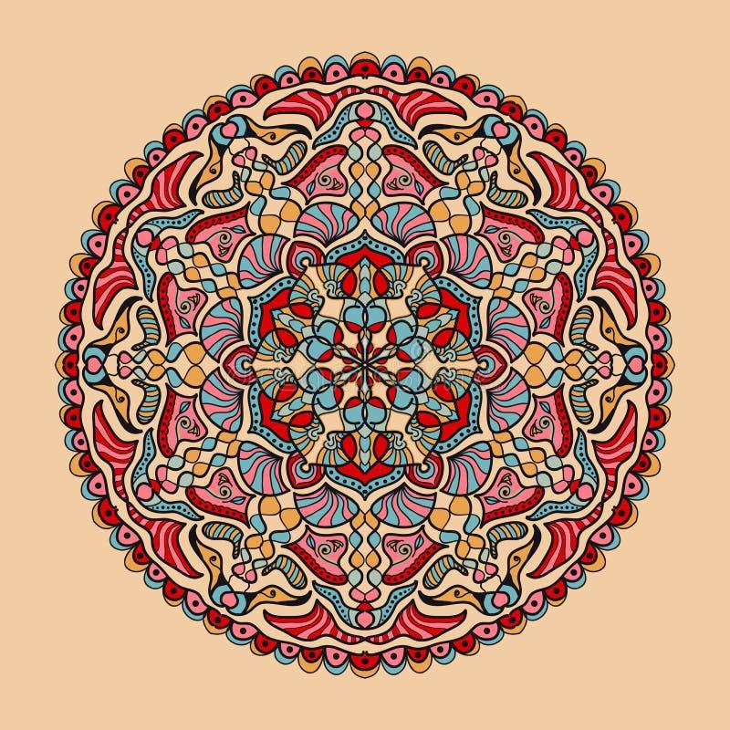 Blom- färgrik mandala för vektor Härlig designbeståndsdel i etnisk stil royaltyfri illustrationer