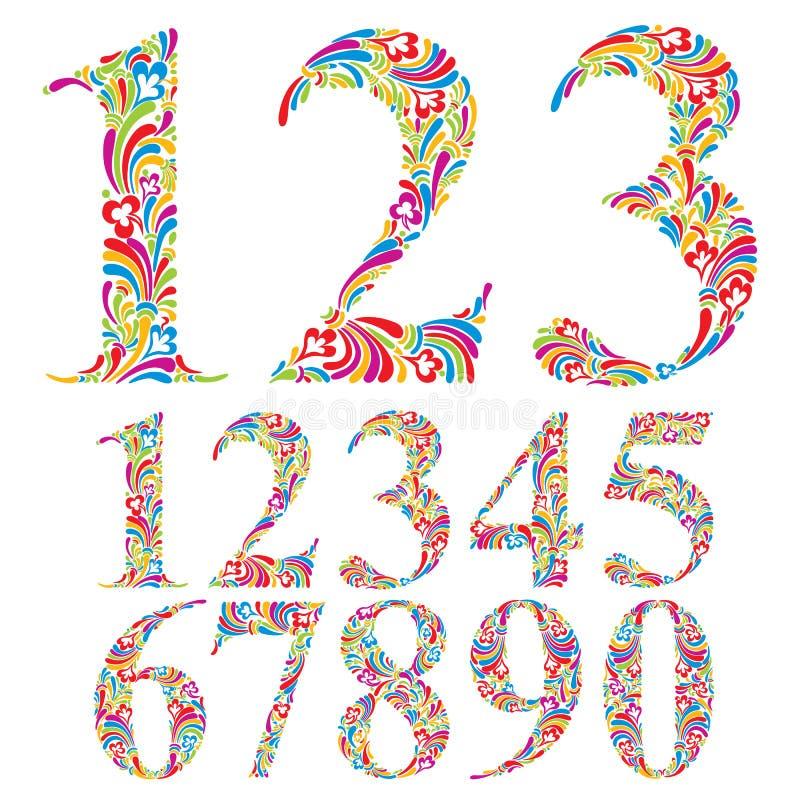 Blom- färgrik nummeruppsättning vektor illustrationer