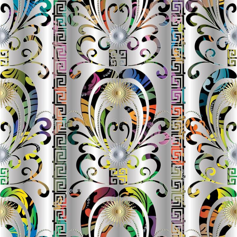 Blom- färgrik sömlös modell 3d Damast silverbackgr för vektor royaltyfri illustrationer