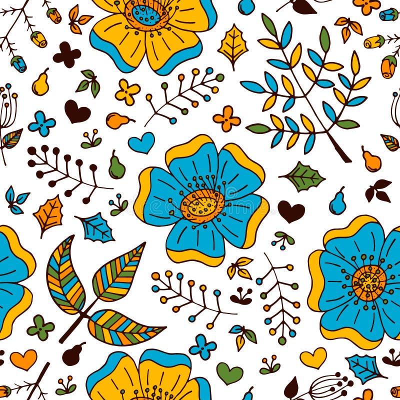 Blom- färgrik sömlös modell för vektor med hand drog klotterbeståndsdelar vektor illustrationer