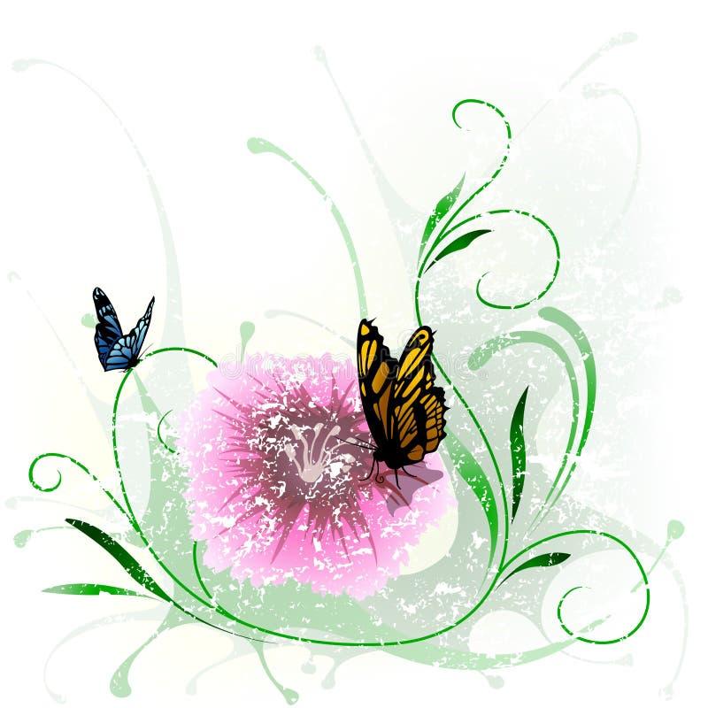 Blom- färgstänk och fjäril vektor illustrationer
