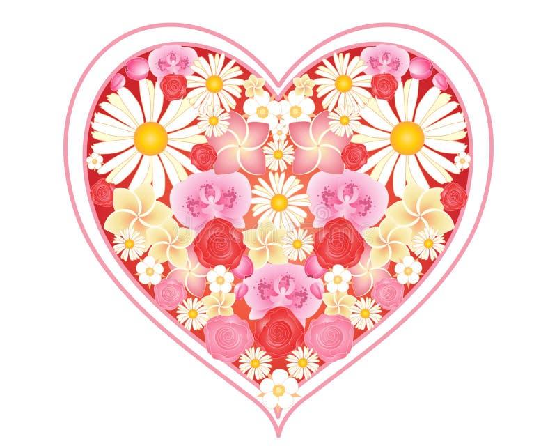 Blom- förälskelsehjärta stock illustrationer