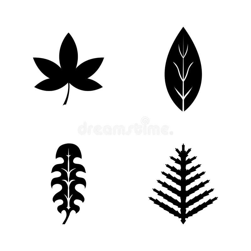 Blom- filialbladväxt Enkla släkta vektorsymboler royaltyfri illustrationer